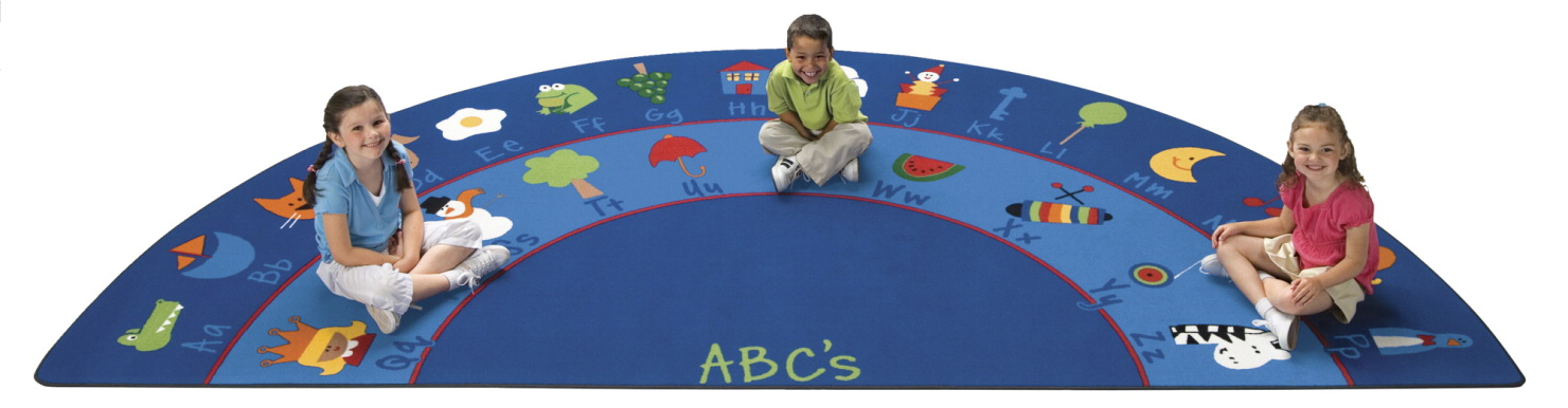 Carpets For Kids Fun with Phonics Seating Rug, Semi-Circle, 5 Feet 10 Inches x 11 Feet 8 Inches