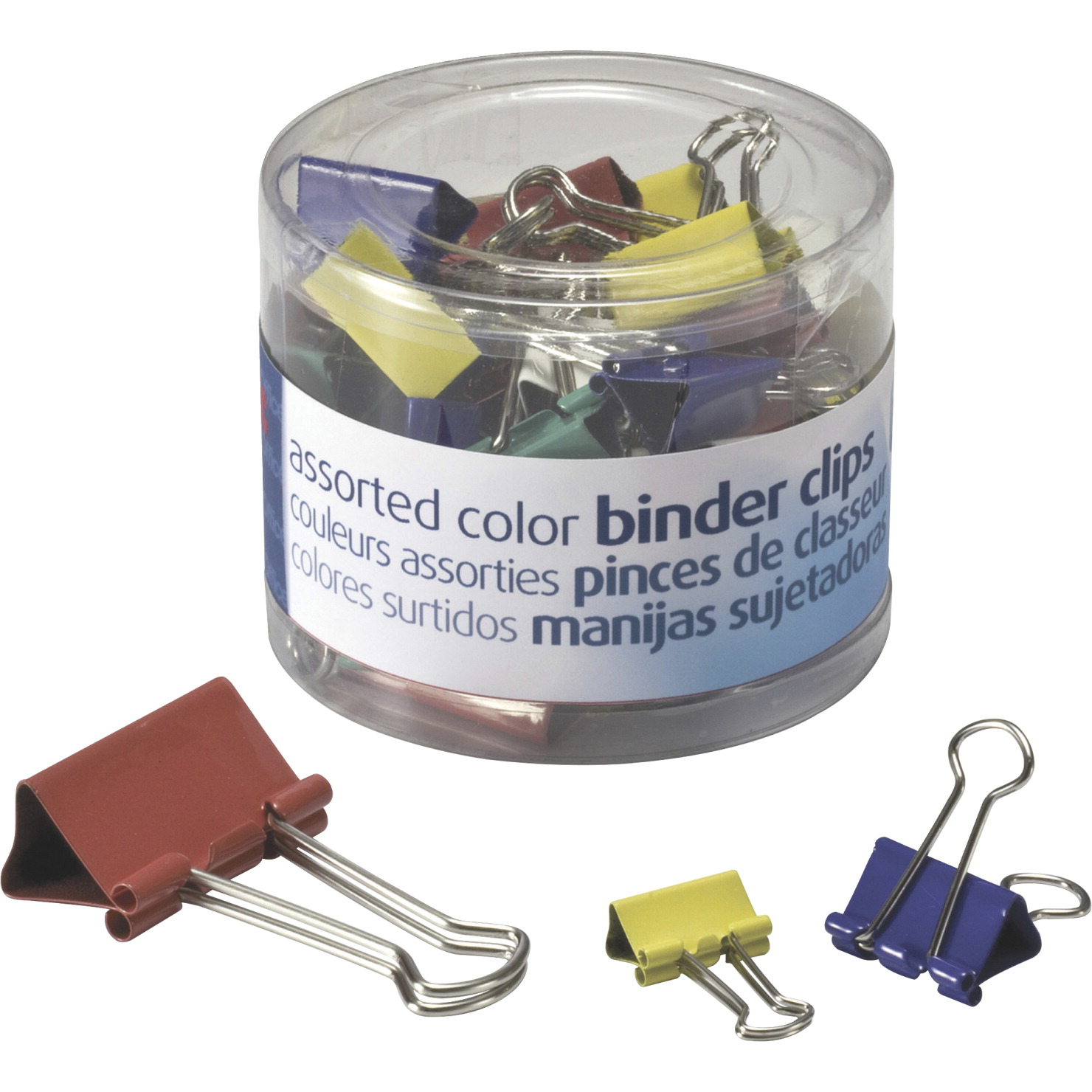 Officemate Binder Clip Assortment - Configurable Item, Assorted Size,  Metal, Assorted Color, Pack of 30