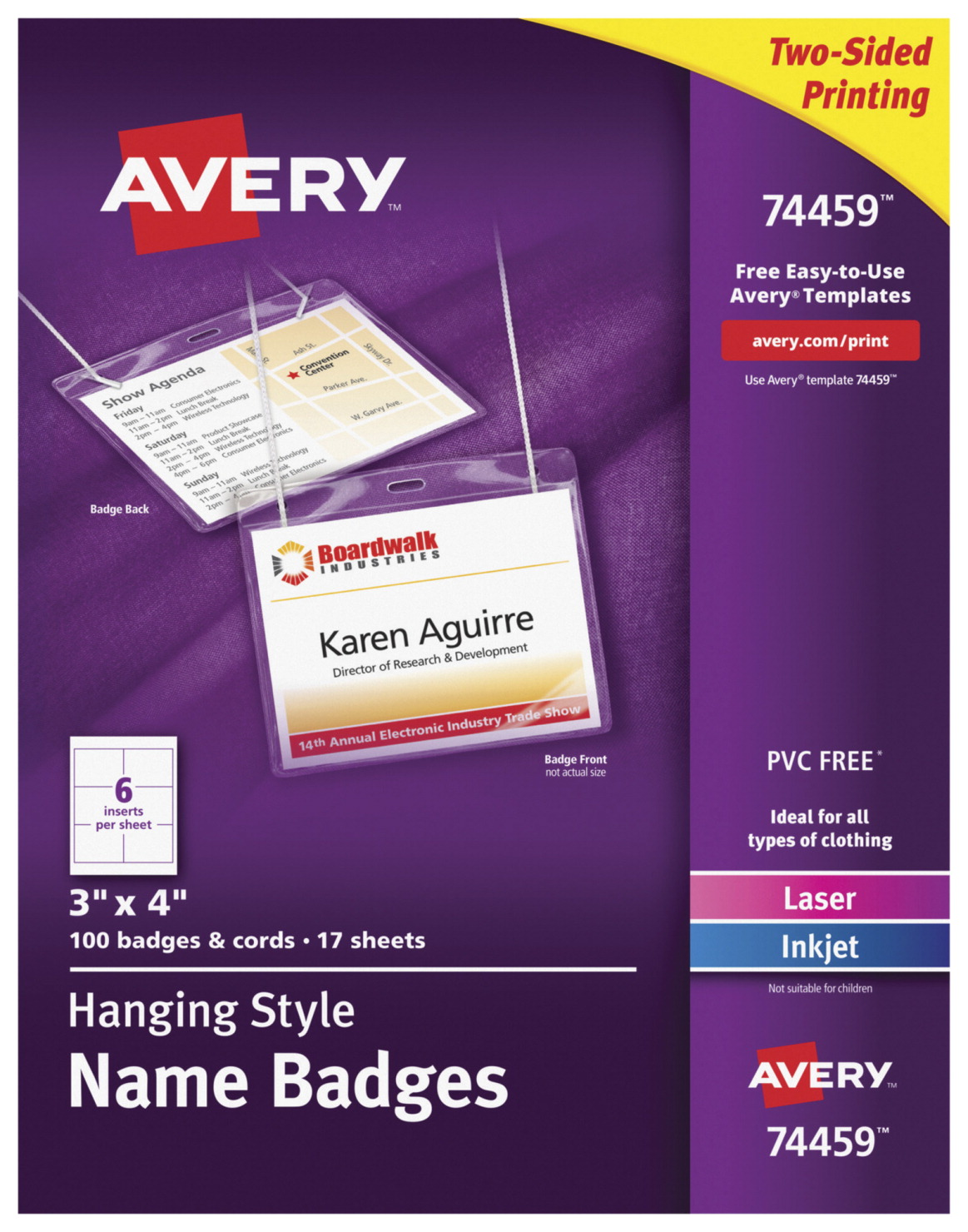 Avery Hanging Style Name Badges, Two-Sided, White, Set of 100 Badges and  Cords