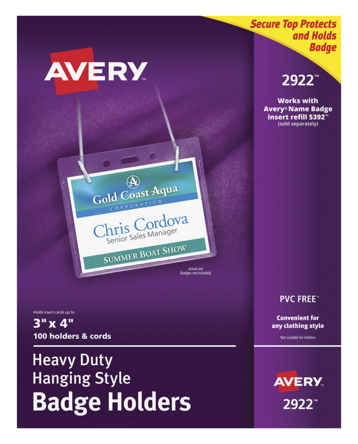 b4d445b7ed90 Avery Hanging Horizontal Photo ID System Badge Holder with Clip and  Lanyard, 4 X 3 in, Polypropylene, Clear, Pack of 100