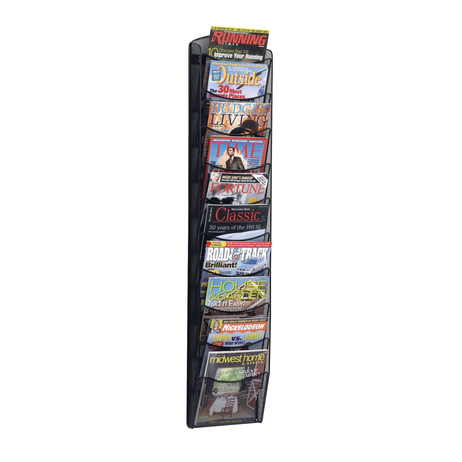 Safco Onyx Mesh Literature Organizer Magazine Rack, 10 Pocket, 10-1/4 W X 3-1/2 D X 50-3/4 H in, Black