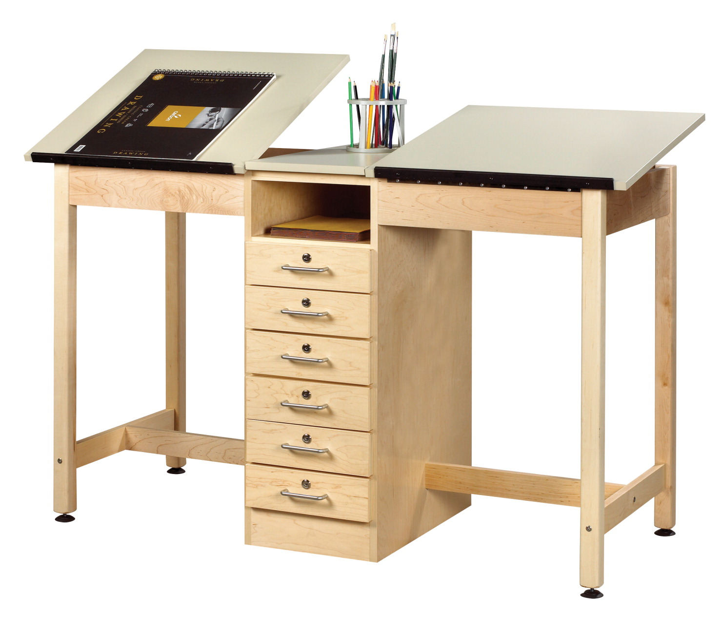 Diversified Woodcrafts 2 Station Drawing Table With Drawers 60 X 24 36 Inches