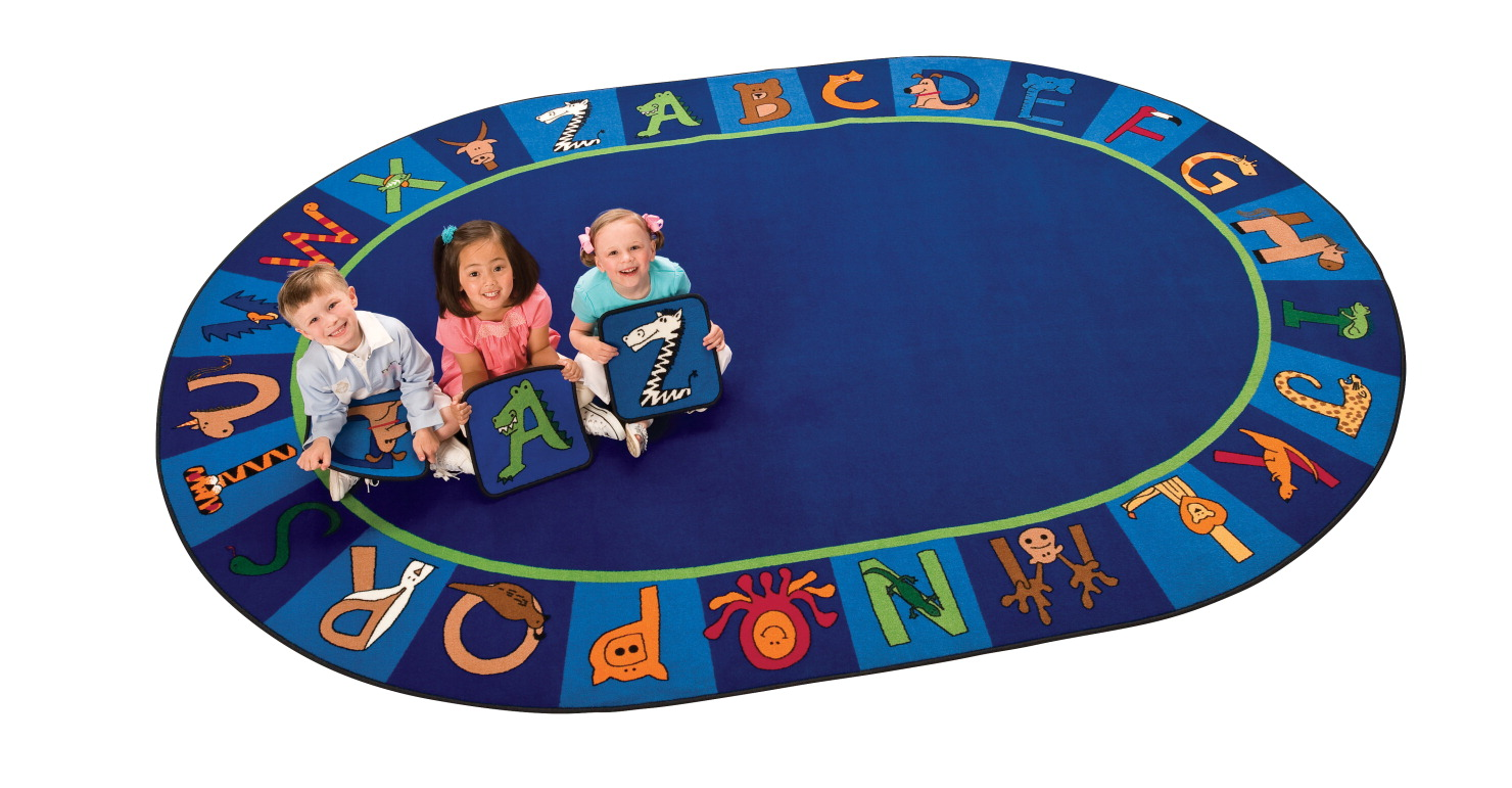 Carpets For Kids A to Z Animals Rug, 6 Feet 9 Inches x 9 Feet 5 Inches, Oval
