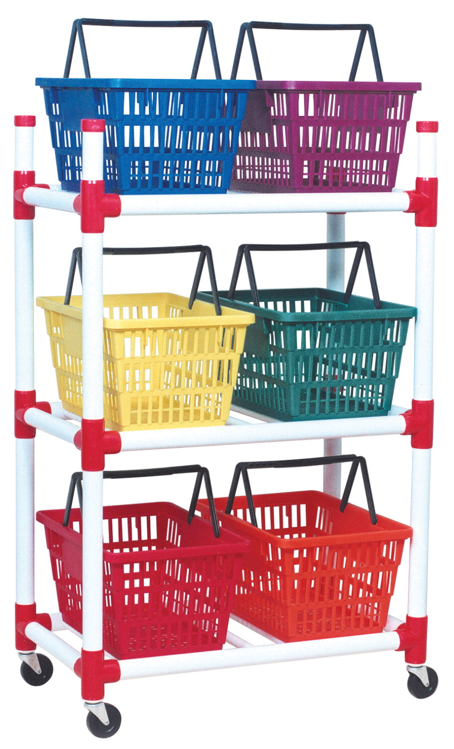 Duracart Multi-Purpose Rolling Cart with 6 Colorful Baskets, 33 Inches X 19 Inches X 52 Inches, Plastic, Assorted Color