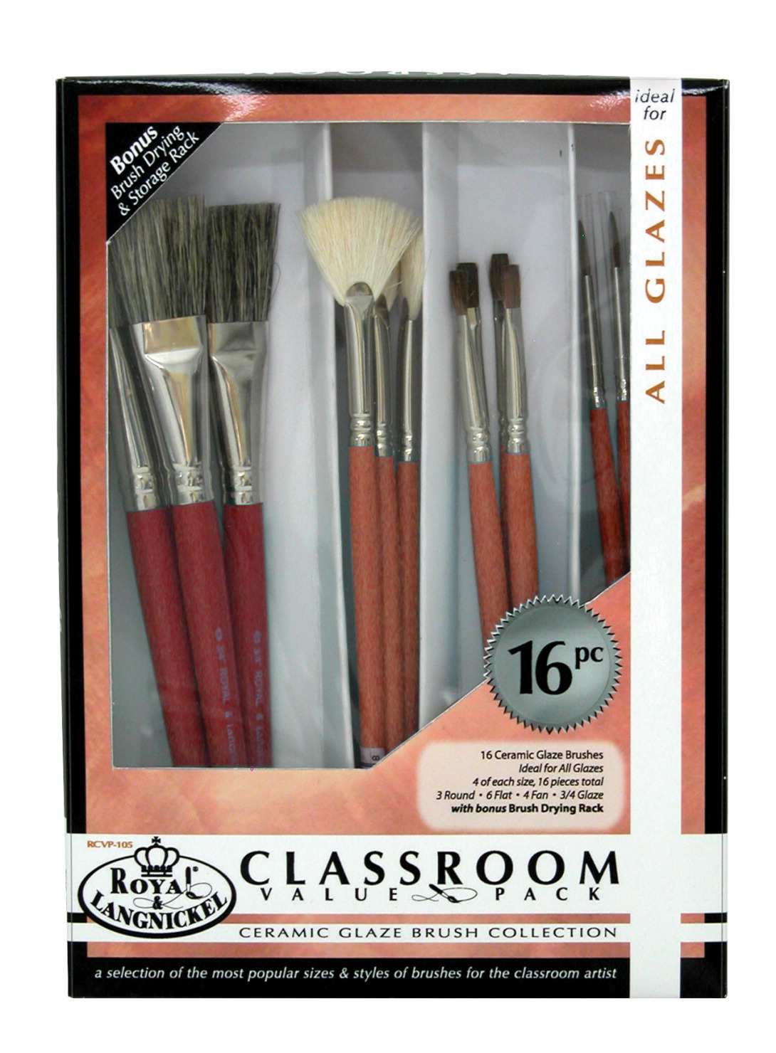 Royal Brush Ceramic Handle Classroom Value Pack, Assorted Size, Set of 16