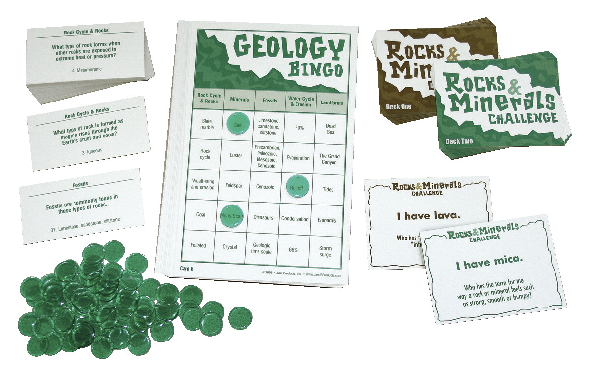J&B Products Rocks and Minerals Challenge and Geology Bingo Game Set