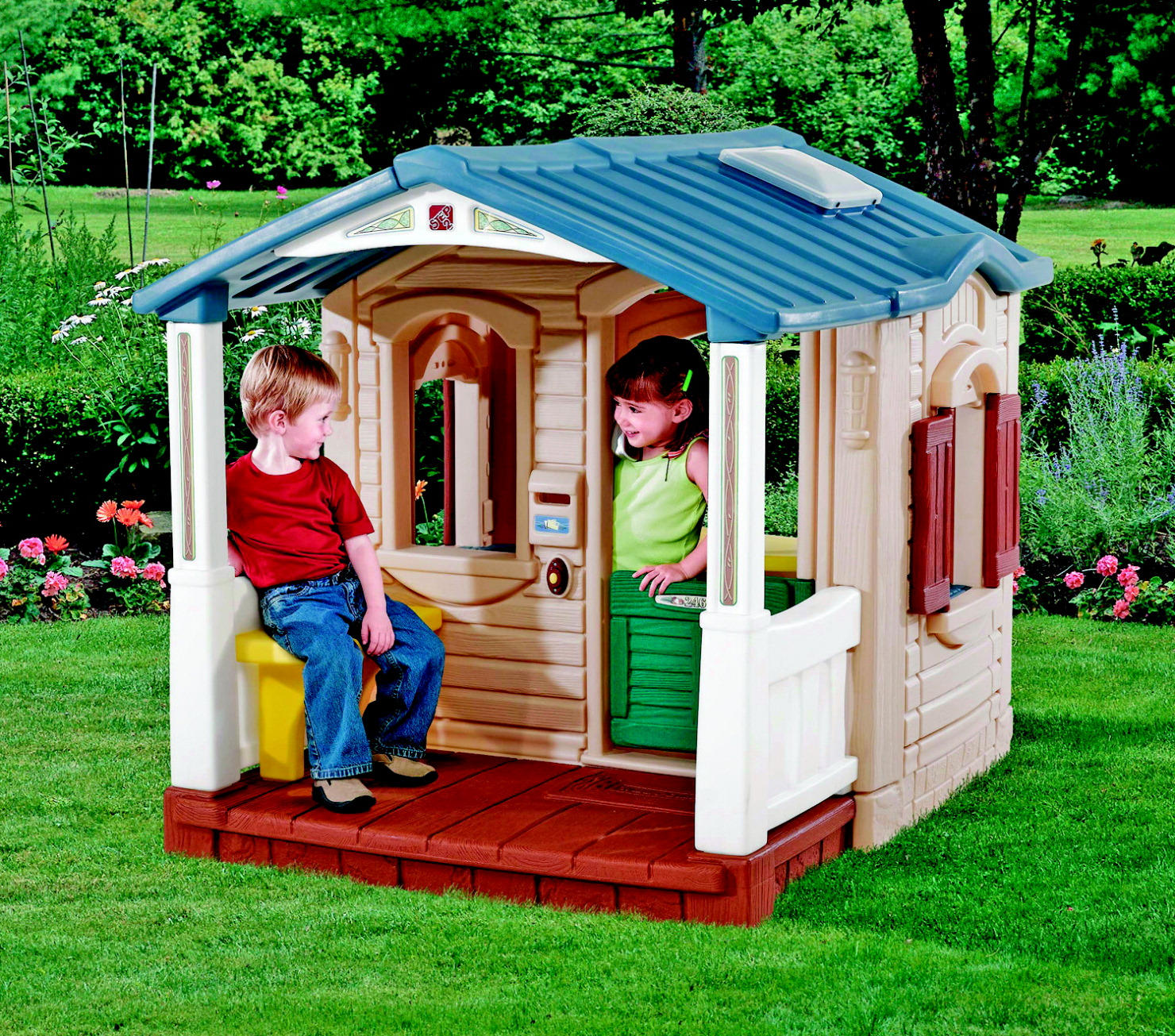 Step2 naturally playful front porch playhouse blue brown for School playhouse