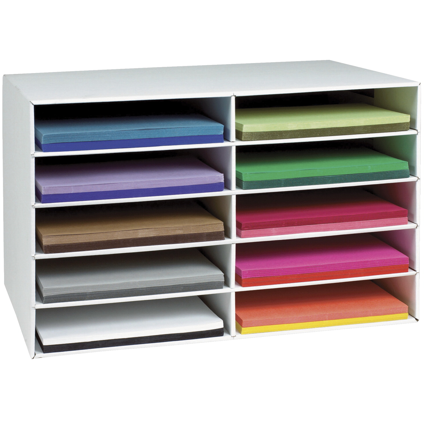 Pacon Construction Paper Storage Unit, 10 Slots, 16-7/8 H x 26-7/8 W x 18-1/2 D inches