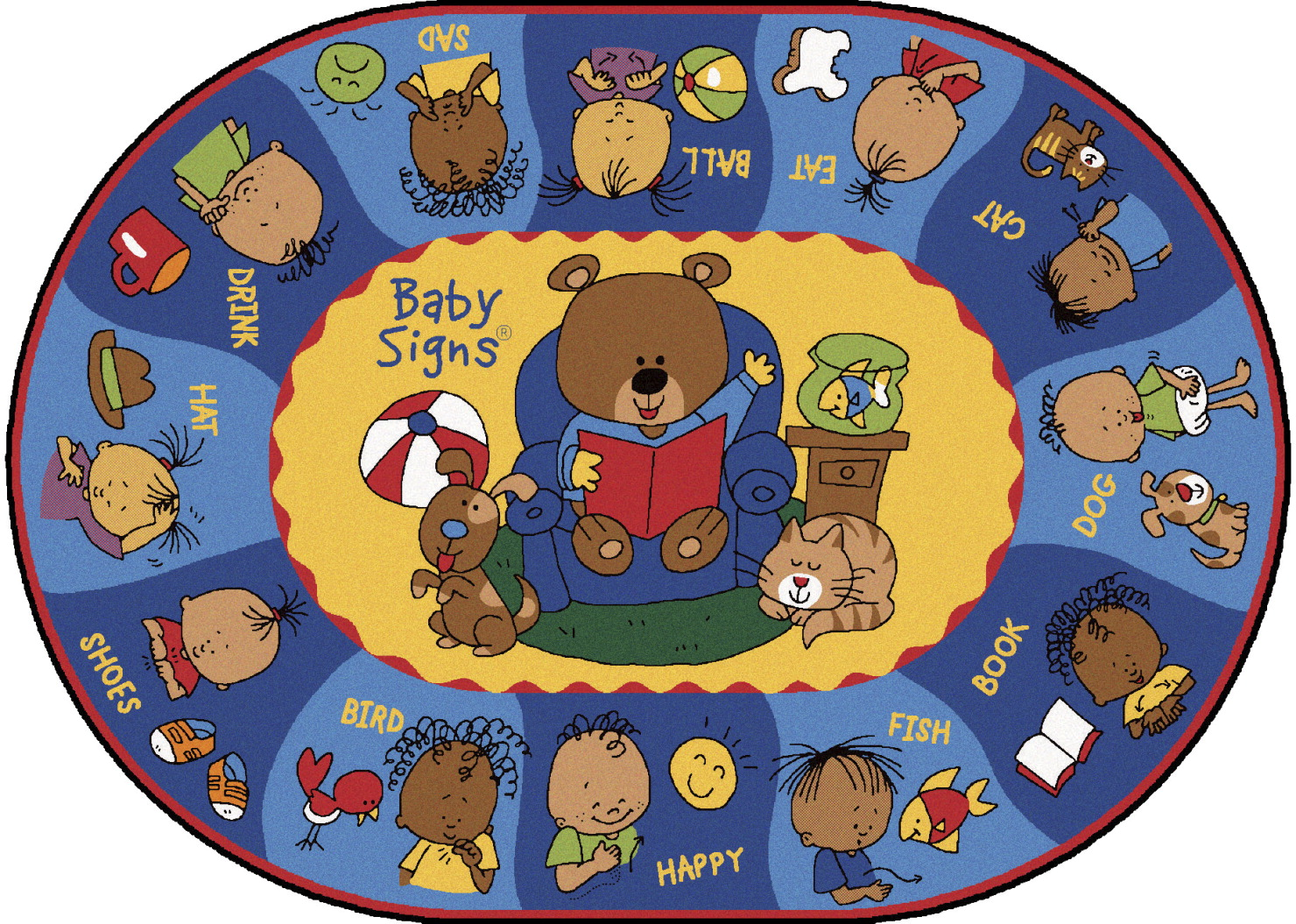 Carpets For Kids Sign Say and Play Rug, 6 Feet 9 Inches x 9 Feet 5 Inches, Oval