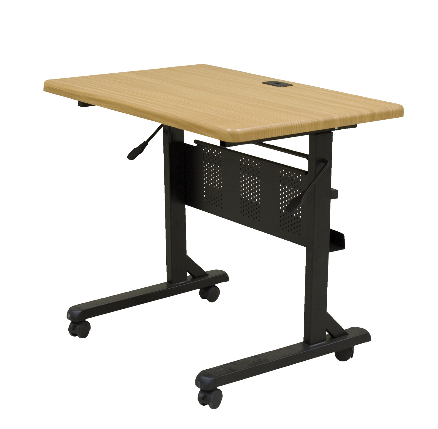 MooreCo Flipper Training Table with Casters, 36 x 24 x 29-1/2 Inches, PVC Top, Black Frame, Teak