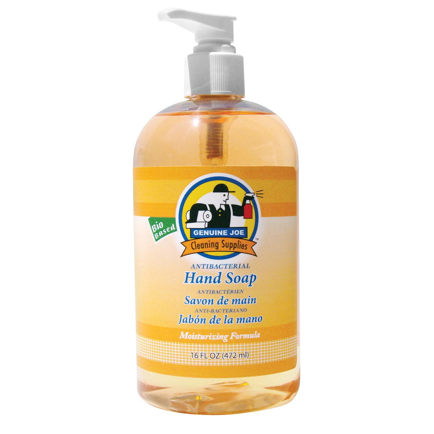 Genuine Joe Anti-Bacterial Moisturizing Liquid Hand Soap, Citrus Scent, 16  Ounce Pump Bottle