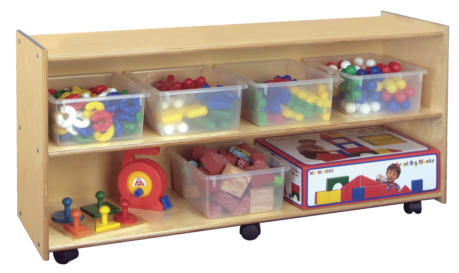Childcraft Mobile Open Shelving Unit, 2 Shelves, 24 Inches
