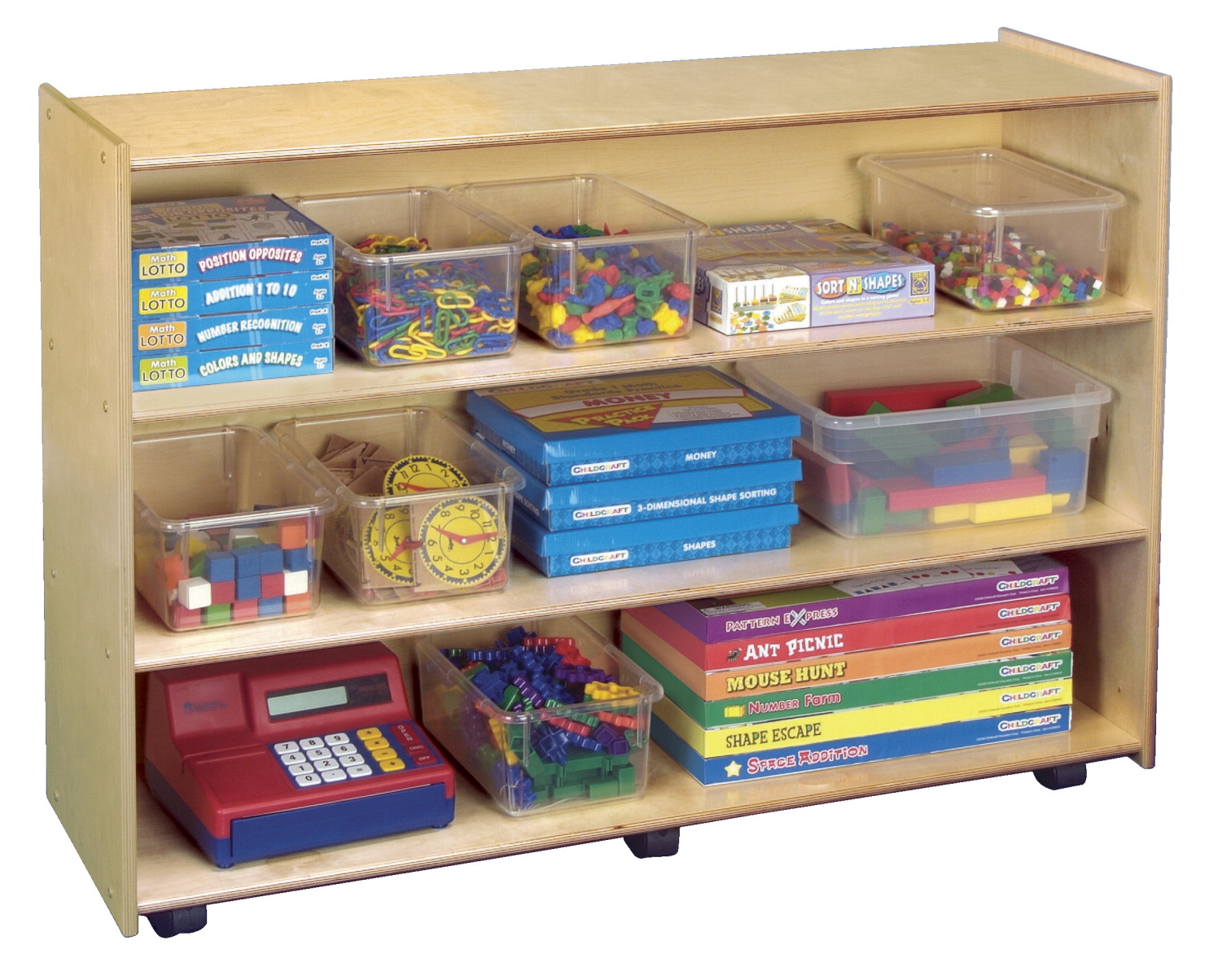 Childcraft Mobile Open Shelving Unit, 3 Shelves, 48 x 14-1/2 x 36 Inches