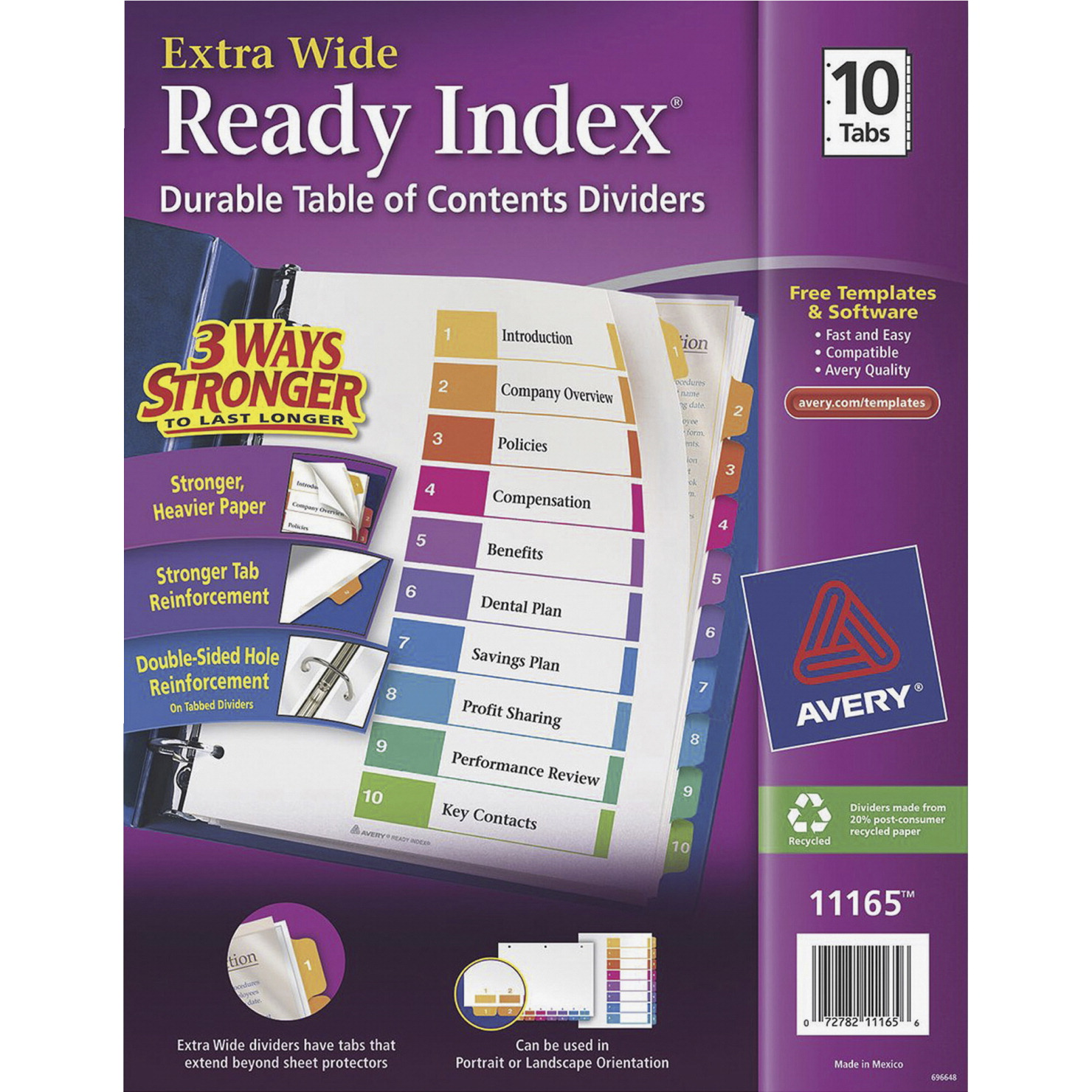 Avery Ready Index Table Of Contents Dividers 11 X 9 1 2 Inches