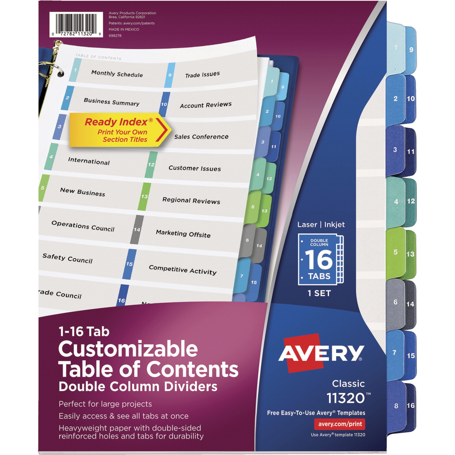 Avery Paper 2-Column Reinforced Table of Content Divider with 16-Tab, 11 X  8-1/2 in, Multiple Color, Number 1 - 16