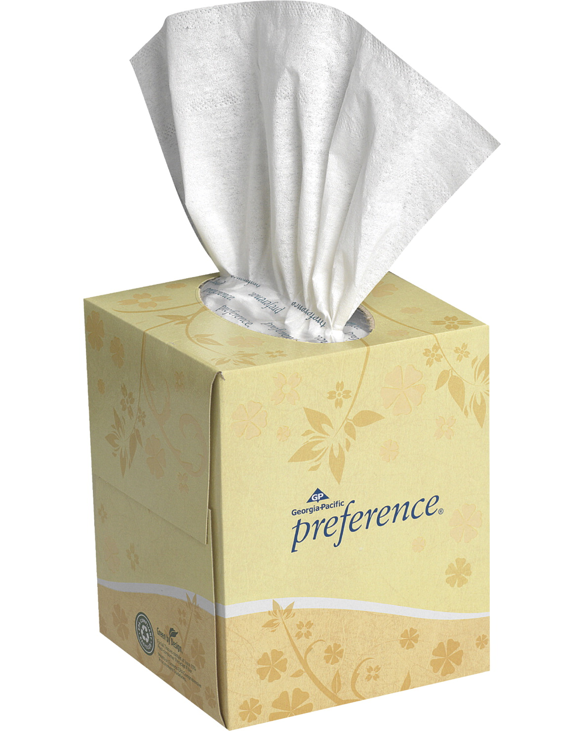Georgia Pacific Preference Cube Dispenser Facial Tissue - 100 Tissues, 7.65 X 8.85 in, 2-Ply, White
