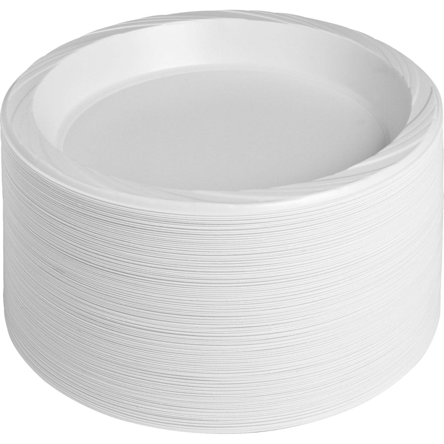Genuine Joe Disposable/Reusable Round Plastic Plate, 10-1/4 W in, White, Pack of 125