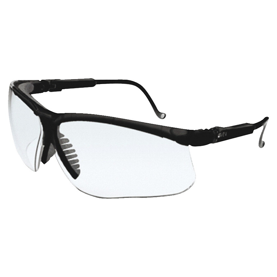 R3 Safety Genesis 9-Base Wraparound Lens Safety Glasses, Black/Clear