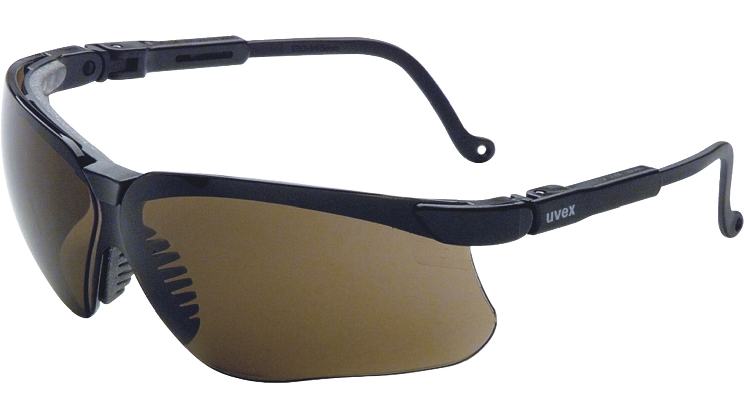 R3 Safety Genesis 9-Base Wraparound Lens Safety Glasses, Black/Expresso