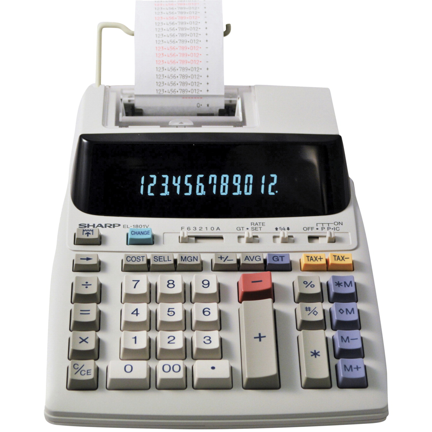 Sharp El 1801v 12 Digit 2 Color Printing Calculator With Cash Register Mode