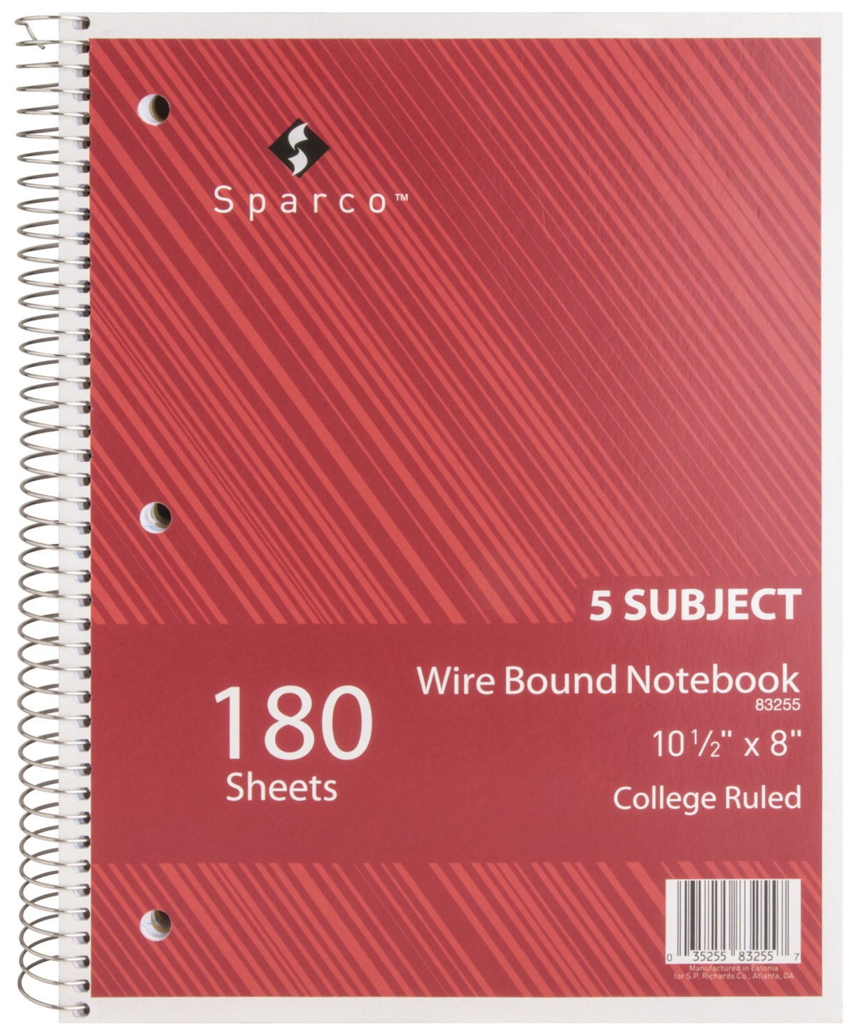 Sparco Wirebound 5-Subject College Ruled Notebook, 10-1/2 x 8 Inches, 180  Sheets