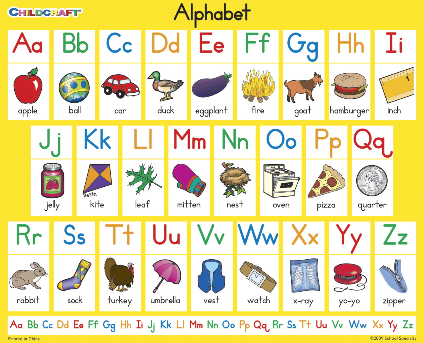 Childcraft Student Sized English Alphabet Charts, 11 x 9 Inches, Set of 25