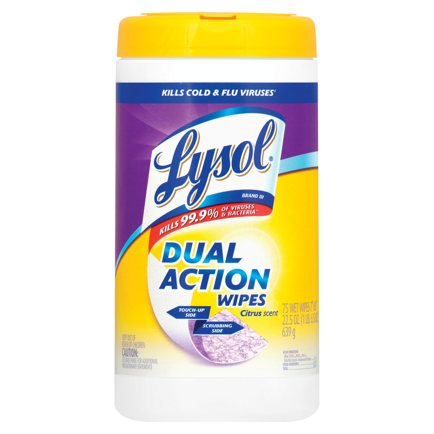 Lysol Dual Action Disinfecting Wipes, Citrus Scent, 75 Wipes