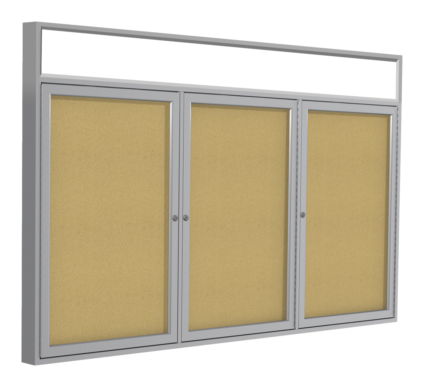 Ghent 3 Door Enclosed Natural Cork Bulletin Board With Satin