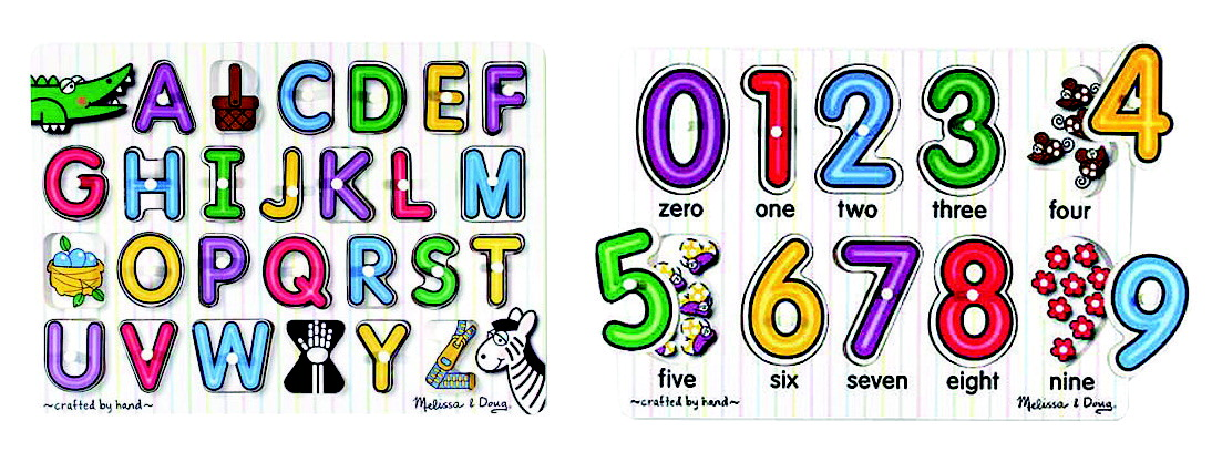 Melissa & Doug Beginning Puzzles Alphabet and Numbers Set