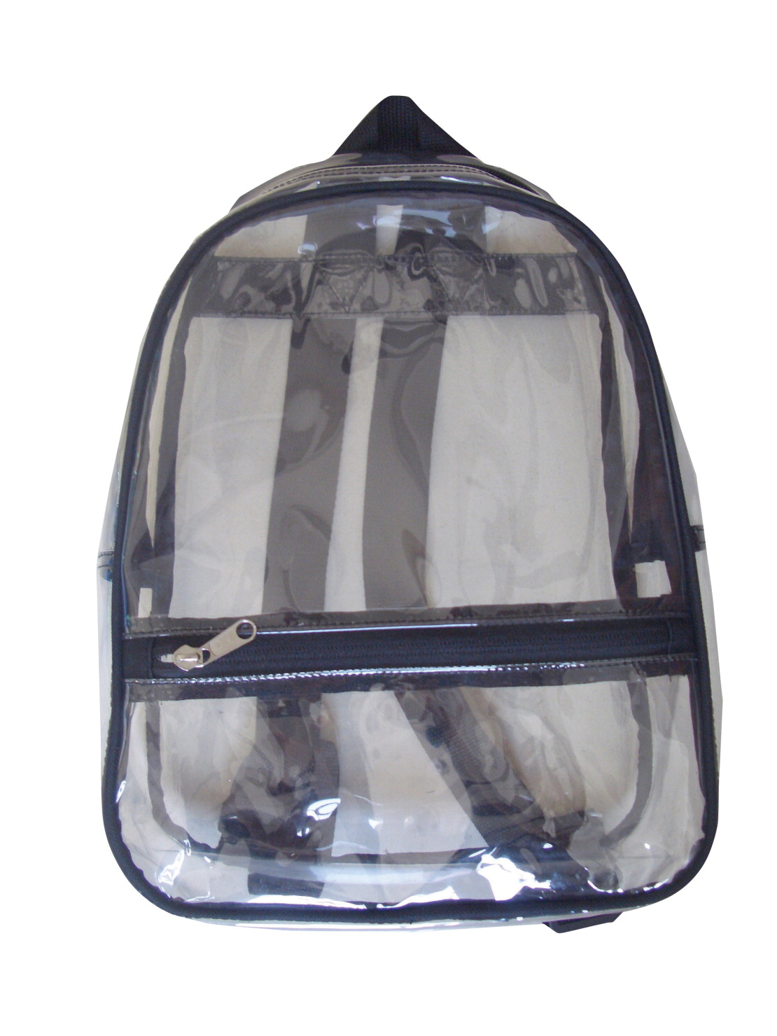 School Smart Youth Backpack with Pocket and Hidden Zipper, 14.5 X 9.8 X 6 in, Vinyl, Clear