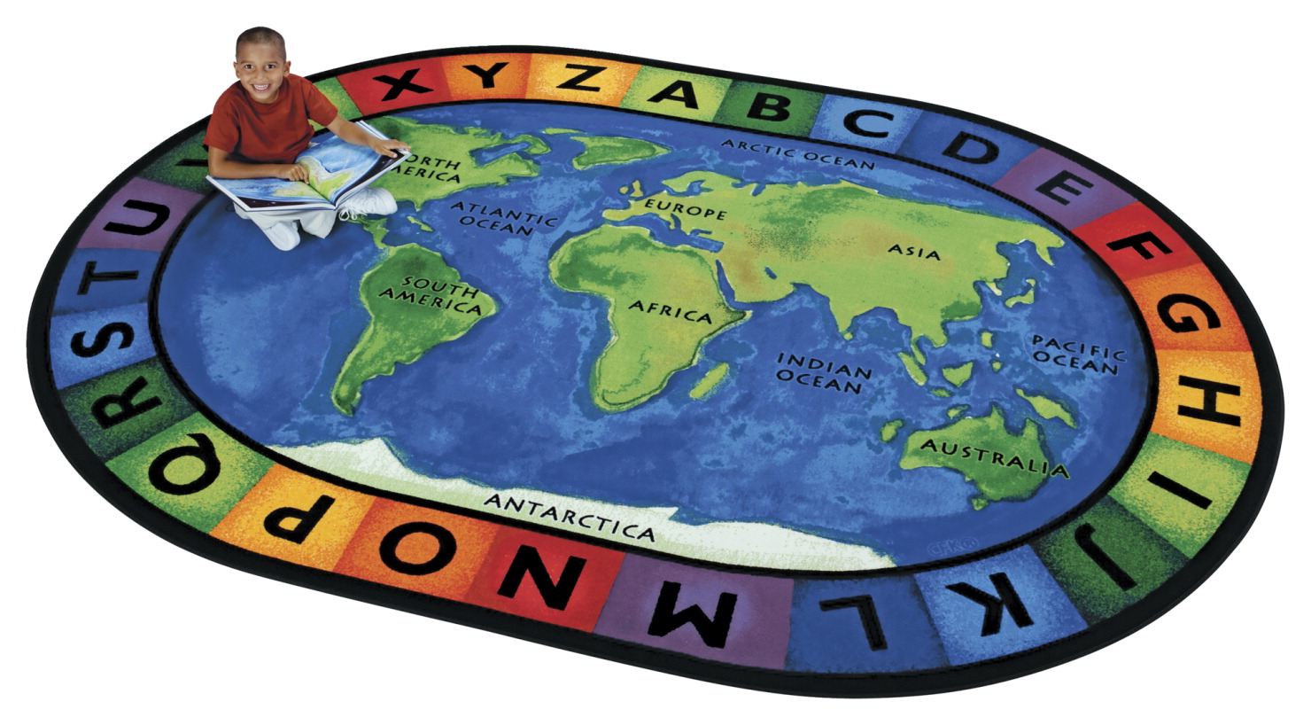 Carpets For Kids Circletime Around The World Rug, 6 Feet 9 Inches x 9 Feet 5 Inches, Oval