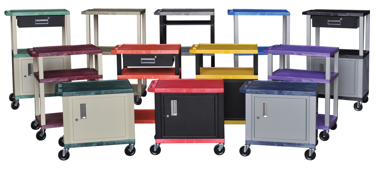 Luxor Tuffy AV Cart with Cabinet and Electric, 24 x 18 x 26 Inches, Steel Frame, Various Options