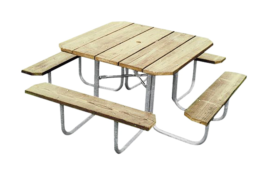 Ultra Site Square Heavy Duty Outdoor Picnic Table, 48 x 48 Inches Top, Pressure Treated Wood