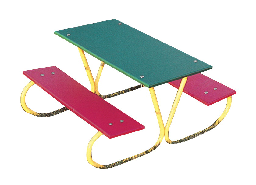 UltraSite 3 Pre-School Picnic Table, 36 x 45-13/16 x 20-1/2 Inches, Green Top, Red Seat, Yellow Frame