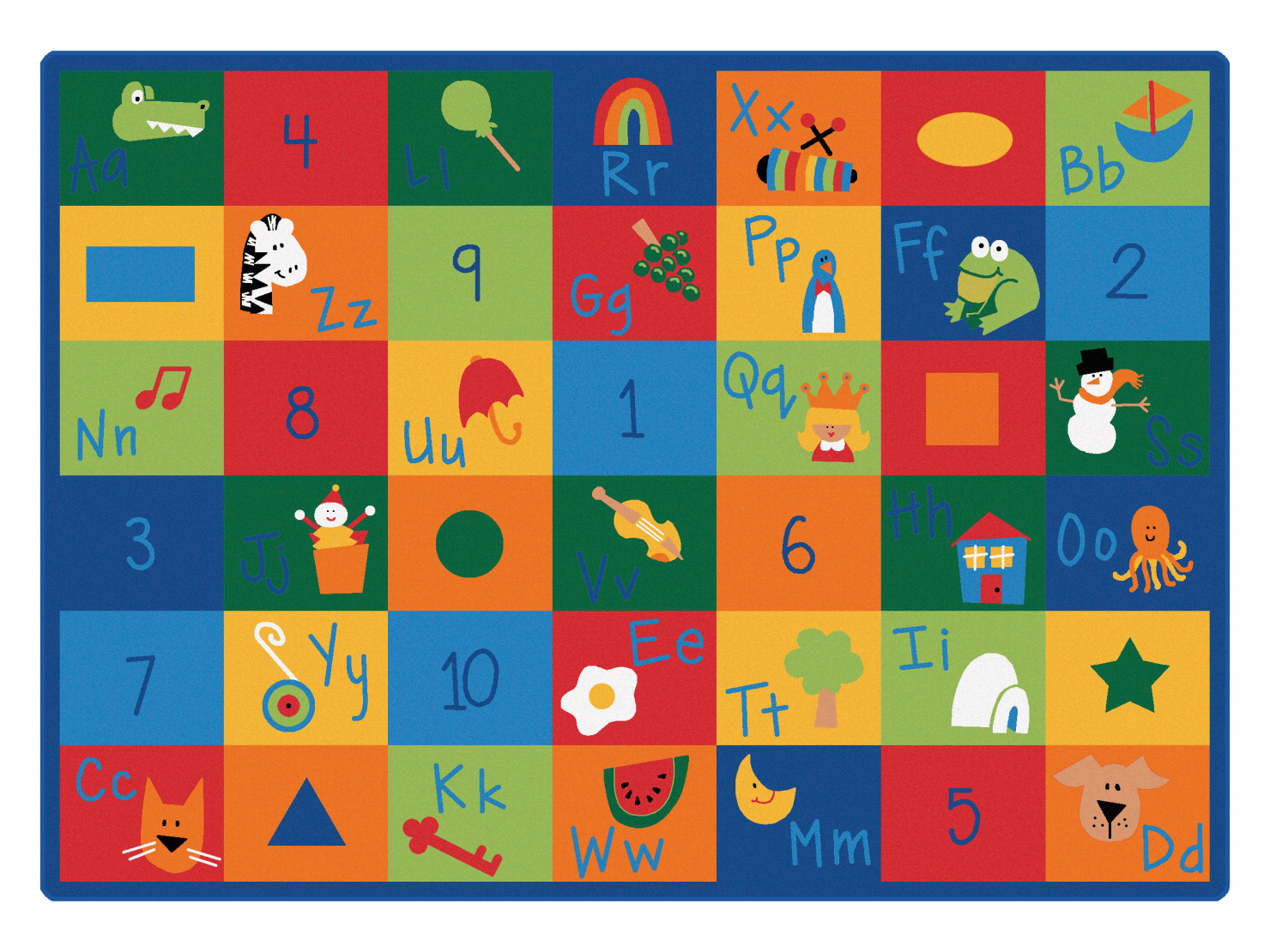 Carpets For Kids Blocks Learning Rug, 4 Feet 5 Inches x 5 Feet 10 Inches, Rectangle, Multi-Color