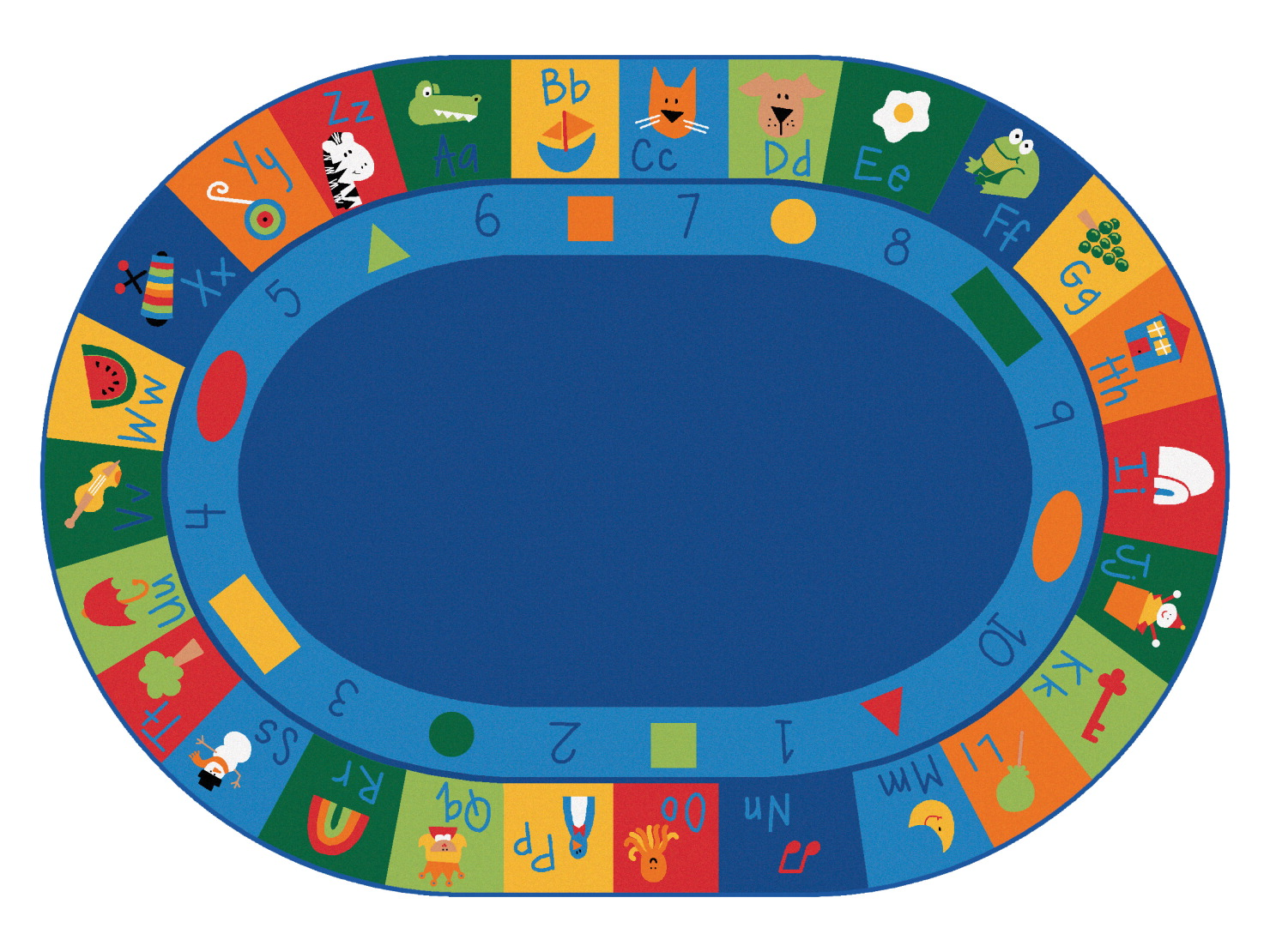 Carpets For Kids Blocks Learning Rug, 6 Feet 9 Inches x 9 Feet 5 Inches, Oval, Multi-Color