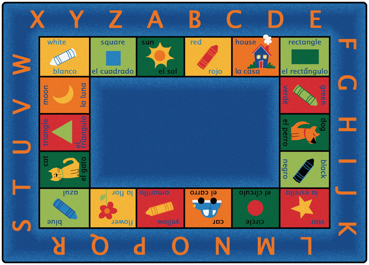 Carpets For Kids Bilingual Circletime Rug, 5 Feet 10 Inches x 8 Feet 4 Inches, Rectangle, Multi-Color