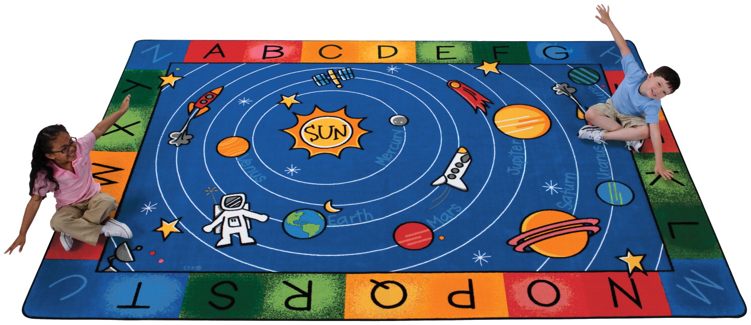 Carpets For Kids Milky Play Literacy Rug, 5 Feet 10 Inches x 8 Feet 4 Inches, Rectangle, Multi-Color