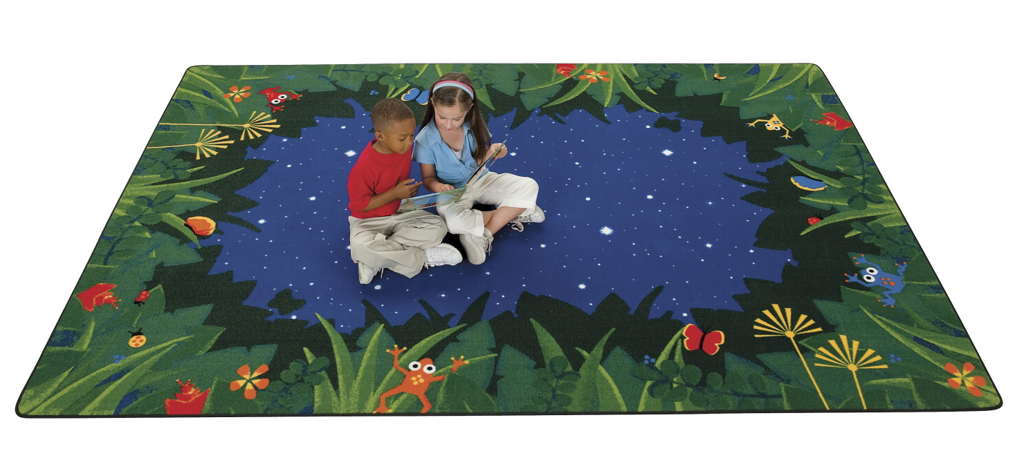 Carpets For Kids Peaceful Tropical Night Carpet, 3 ft 10 in X 5 ft 5 in, Rectangle