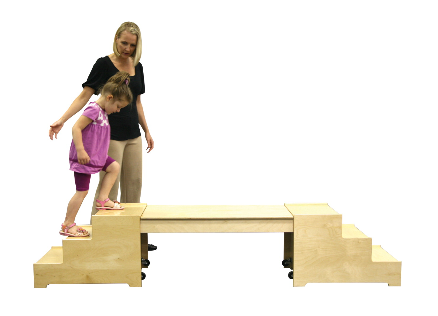 Abilitations Versatile Wide Steps and Bridge Set, 18 in W X 17 in D X 38 in H, Birchwood