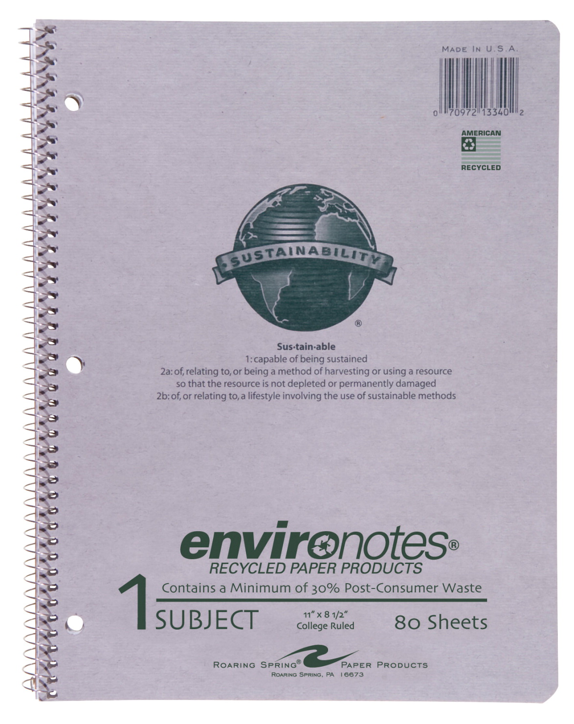 Roaring Spring Environotes Recycled Notebook, 8-1/2 X 11 in, College Ruling, 80 Sheets