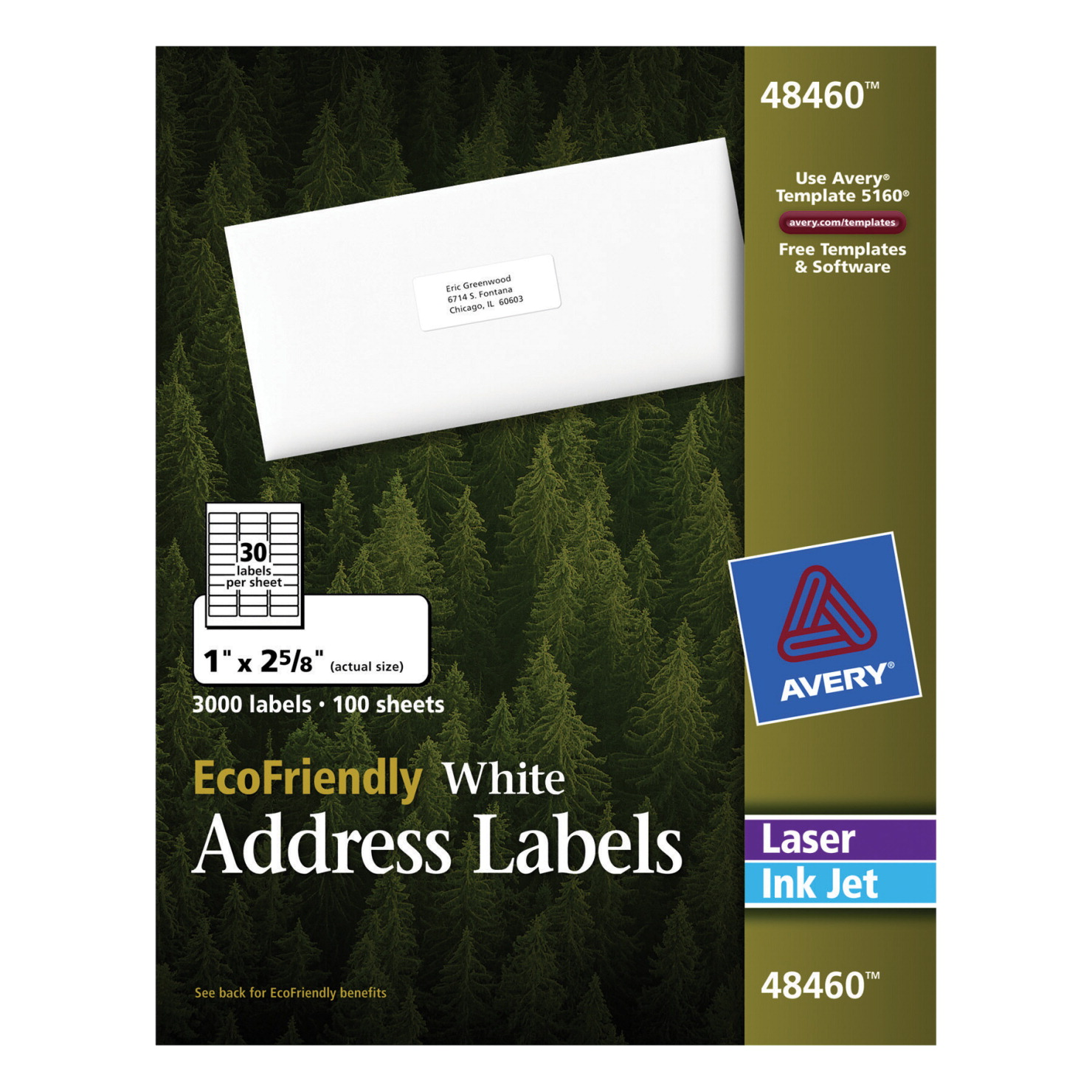 avery ecofriendly permanent adhesive address labels white school