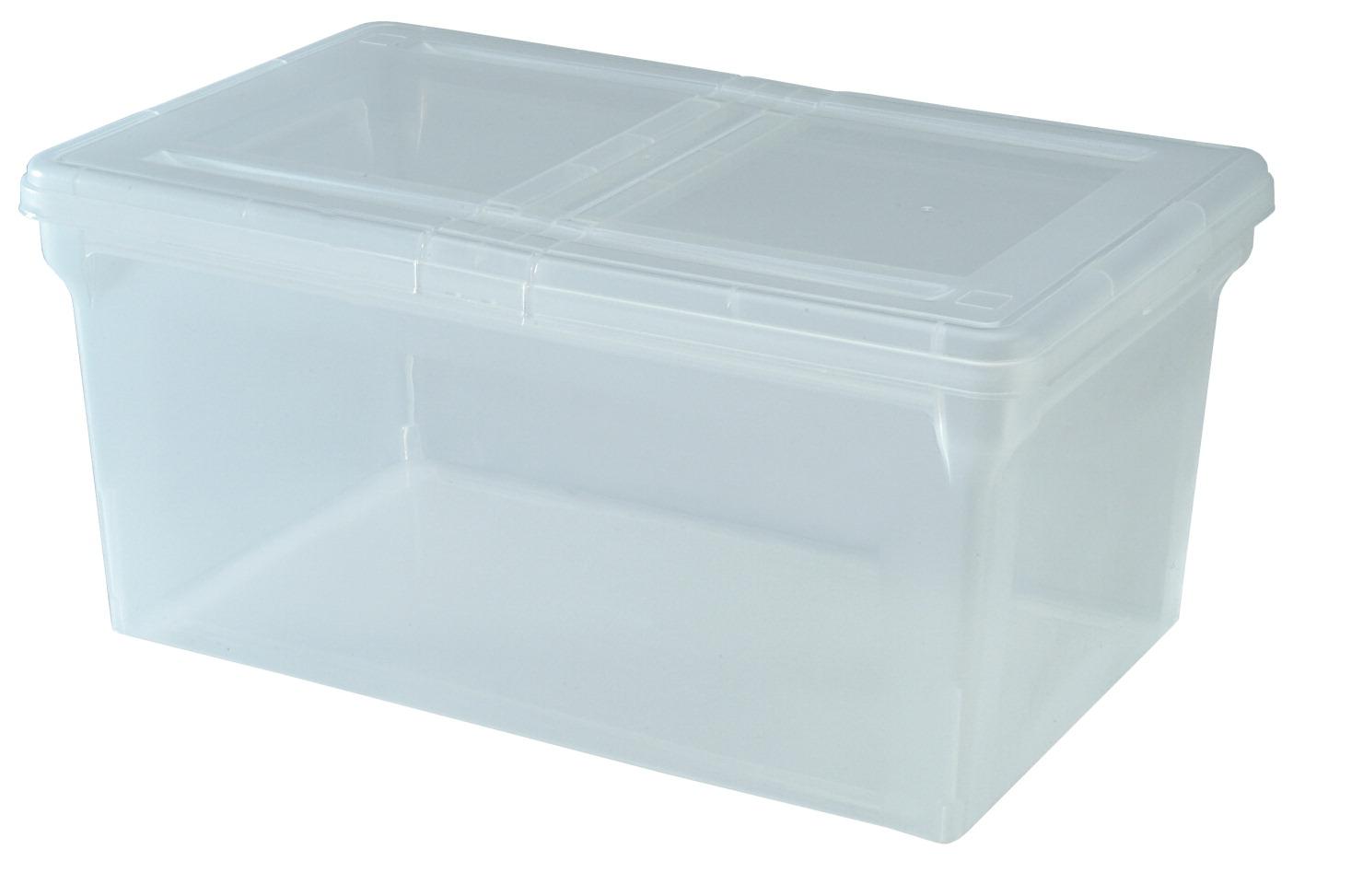 IRIS Letter Size File Box with Split Lid, 10-17/27 x 13-17/27 x 22-3/4  Inches, 44 Quarts