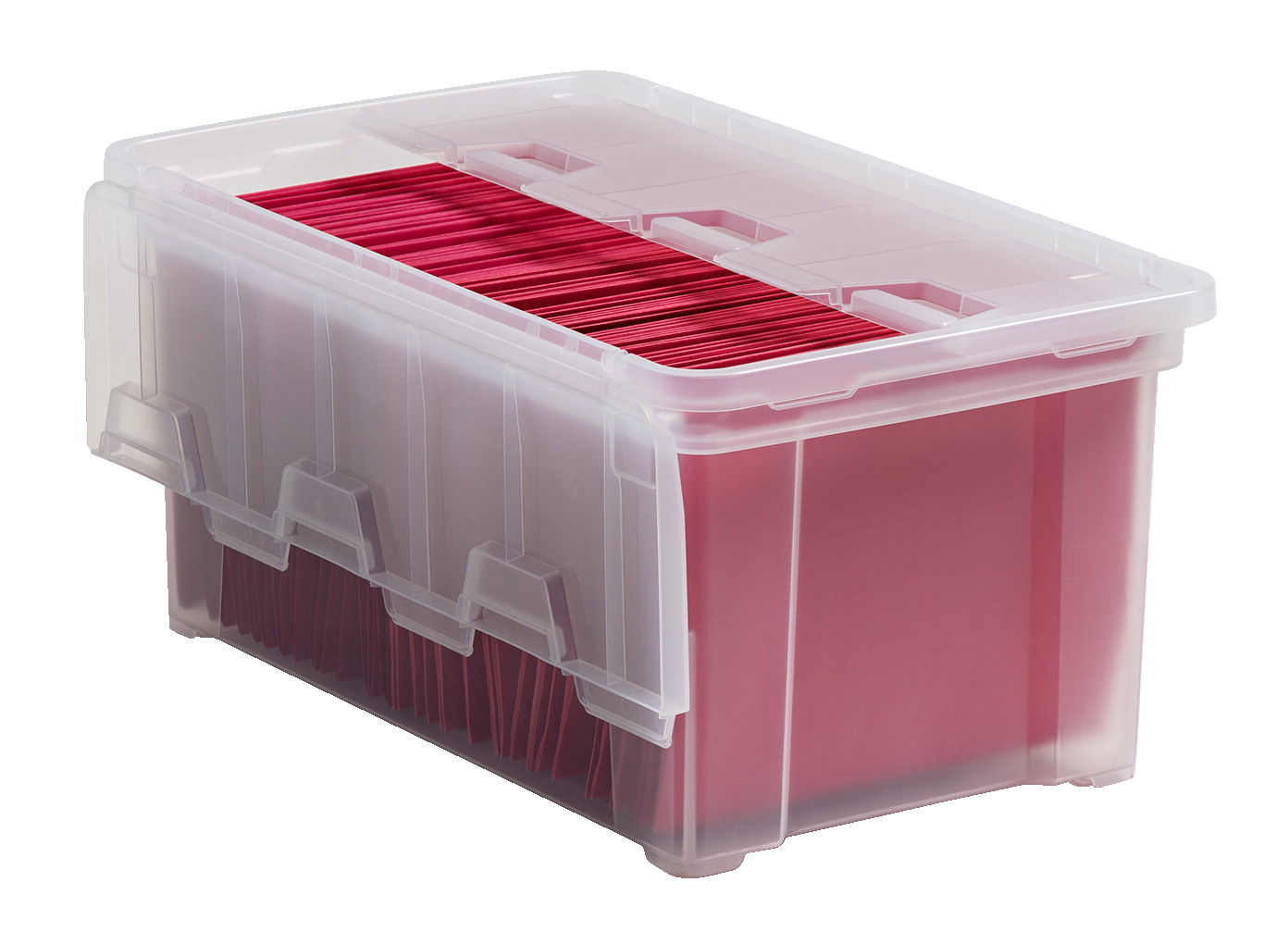 IRIS Letter Size Wing Lid File Box, 14-3/8 x 23-1/2 x 11 Inches, 49 Quarts,  Clear