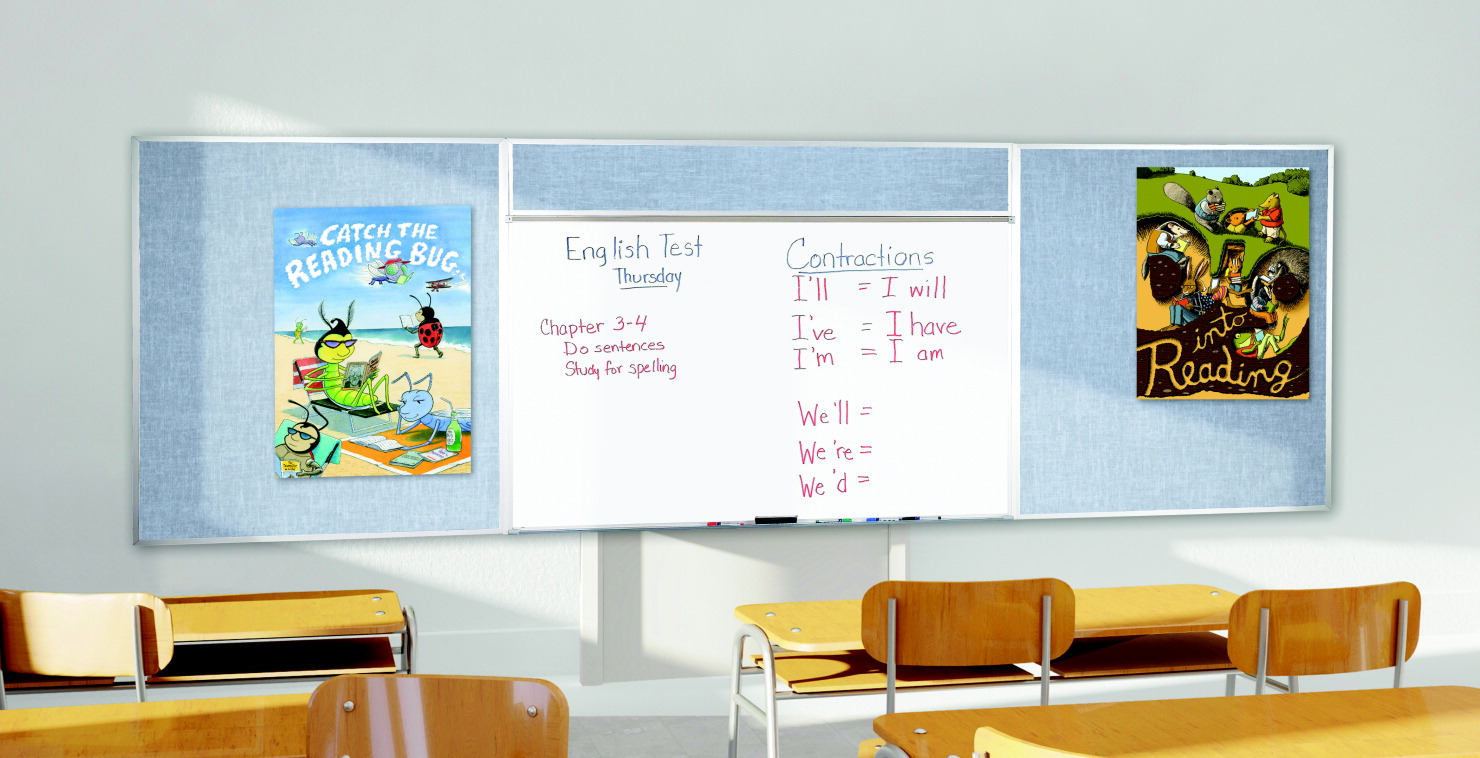 Best-Rite Combo-Rite Type E Porcelain Steel Whiteboard/Vin-Tak Board, 4 x 16 Feet, Various Options