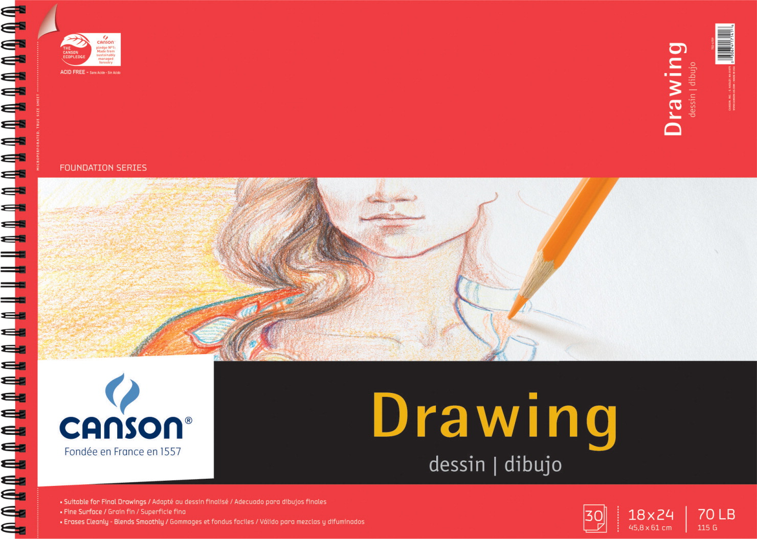 Canson Foundation Acid Free Heavy Weight Drawing Pad 30 Sheets