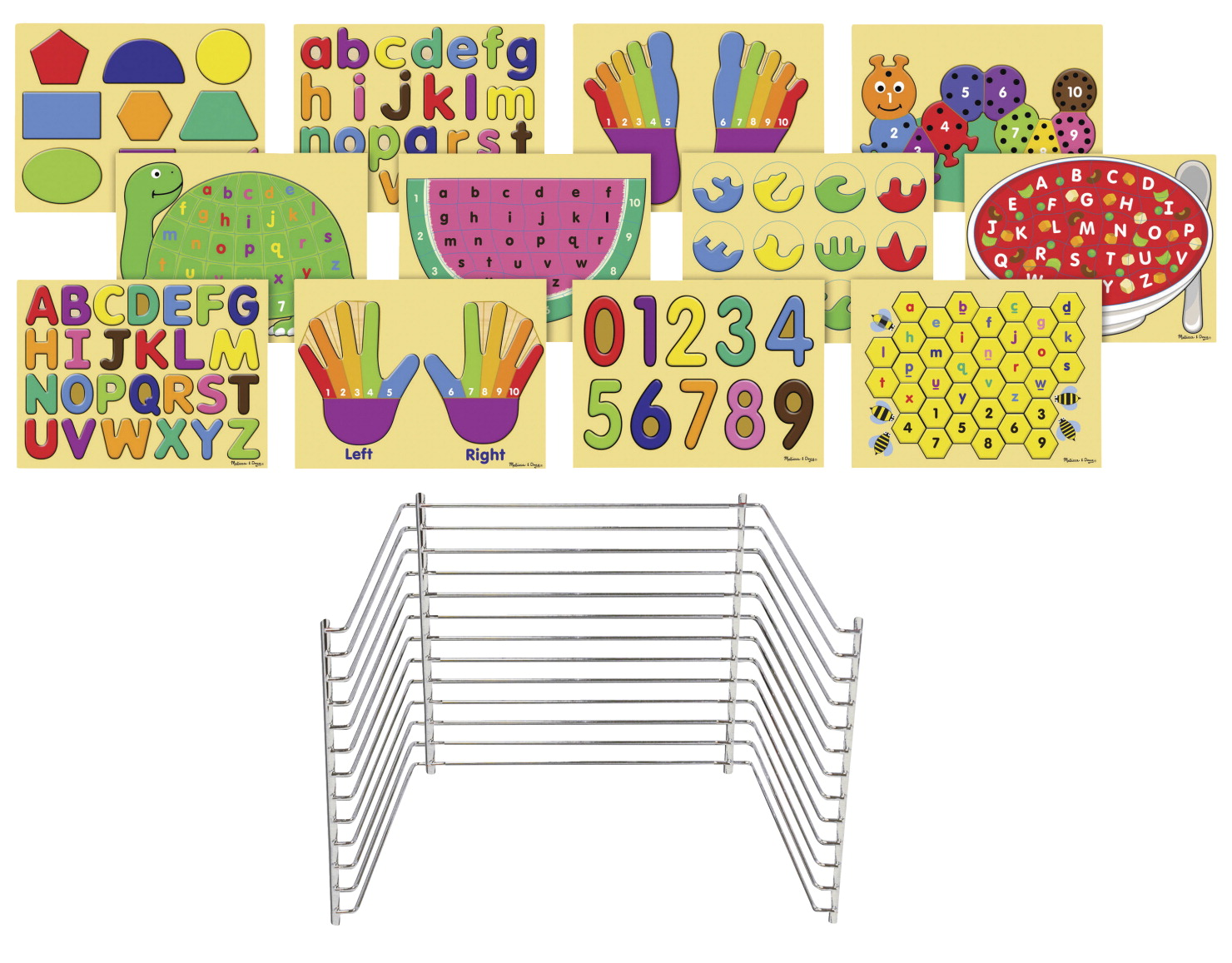 Childcraft Early Learning Puzzles with Deluxe Storage Rack, Assorted, Set of 12