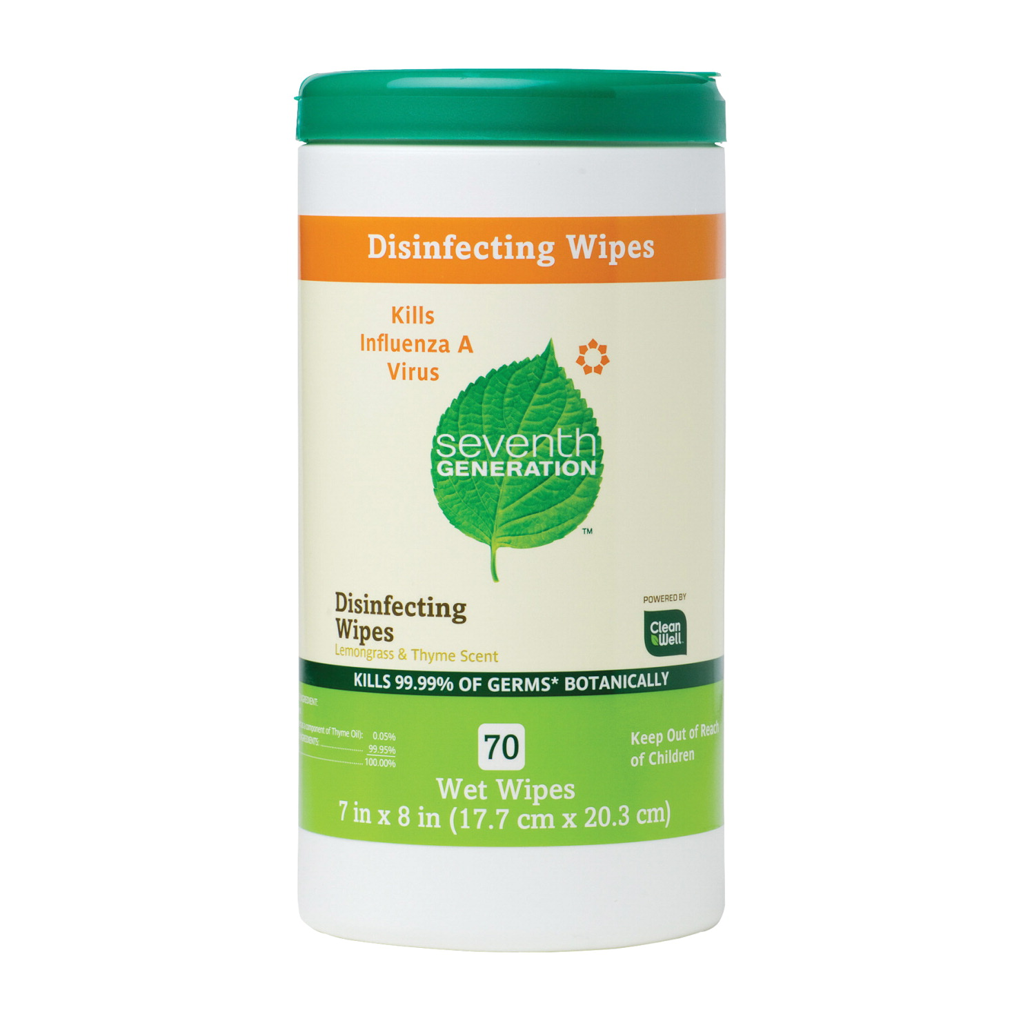 Seventh Generation Disinfecting Wipe, 8 X 7 in, Thyme/Lemongrass Scent, White, Pack of 70