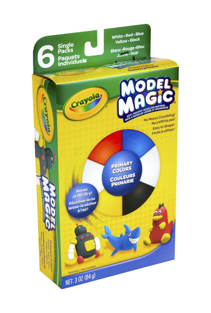Crayola Model Magic Non-Toxic Modeling Dough Set, 3 oz, Assorted Primary Color, Set of 6