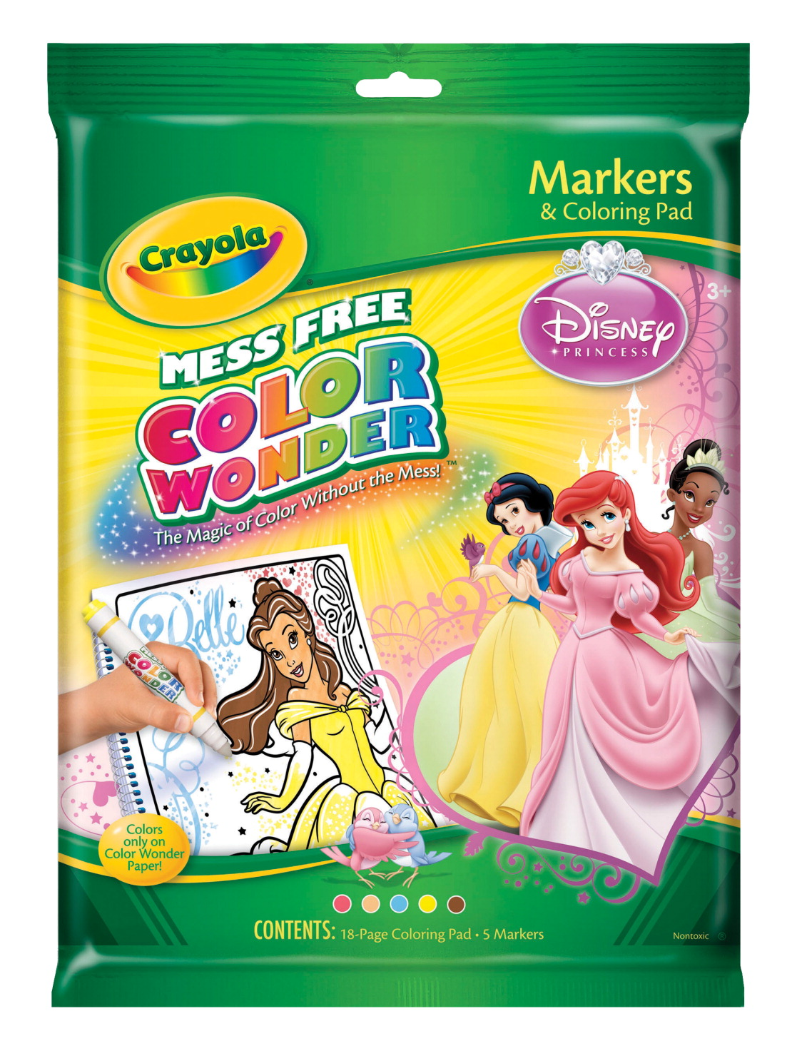 Crayola Color Wonder Mess-Free Non-Toxic Coloring Pad and Marker - Disney Princess, 6 Pieces, Clear